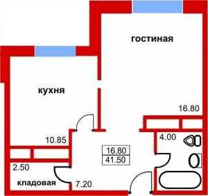 Планировка 1-комнатной квартиры в Южный